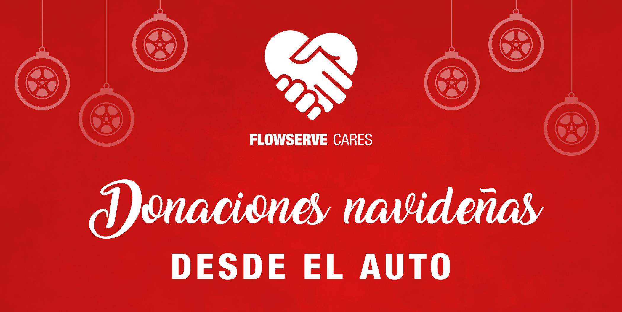 Campaña de donaciones navideñas desde el auto de Flowserve